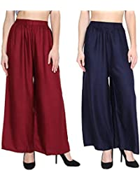 Optimystic Rayon Maroom Navy Blue Plazo Pant Indian Ethnic Plain Casual Wear Plazo Pant Women's Girls