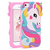 Liangxuer Colorful Unicorn Pink Case for iPhone SE/iPhone 5 5S 5C,Soft 3D Silicone