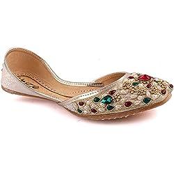 Unze Neue Frauen Traditional 'Opal' Handgefertigte Leder Flat Khussa Pumpe Hausschuhe Schuhe UK Größe 3-8 - Un-08