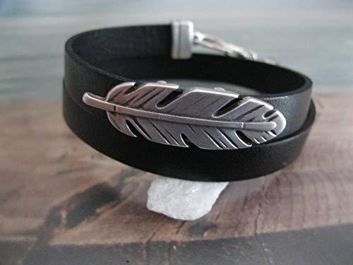 Handmade, Echt Leder Wickel Armband Schwarz- Feder Groß