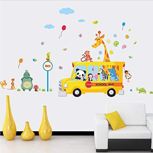 shgdgy Cartoon Giraffe Zoo Monkey Panda Car Wall Stickers For Bedroom  Nursery Kids Room Living Room PVC DIY Wall Decals Home Decor