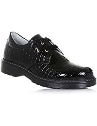 NERO GIARDINI - Zapato Oxford de cordones negro de charol, made in Italy, con elaboración efecto piel de cocodrilo, Niña, Chica