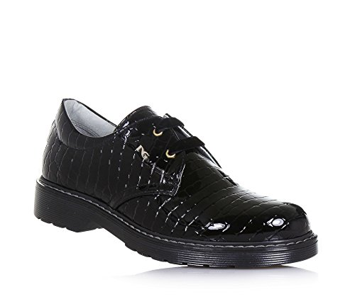 NERO GIARDINI - Chaussure à l'anglaise noire à lacets en vernis, made in Italy, Fille, Filles