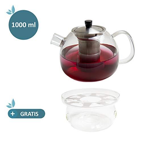 Tetera de vidrio - Capacidad 1000 ml - Filtro de acero inoxidable extraíble - Vidrio de borosilicato resistente al calor – Incluye Calentador de tazas de regalo