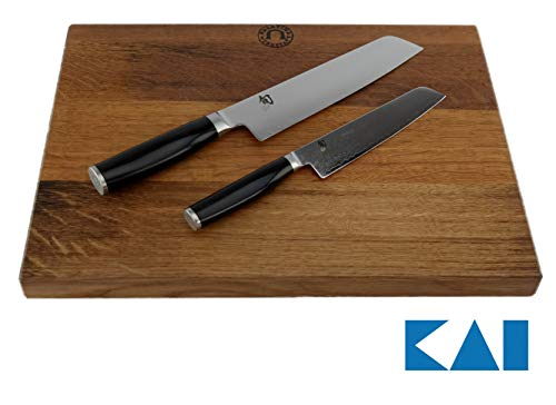 Kai Shun Minamo Messerset, Santokumesser 18 cm TMM-0702 + Allzweckmesser TMM-0701, 15 cm Klinge+ großes, von handgefertigtes Schneidebrett aus altem Fassholz 30x18 cm Eiche