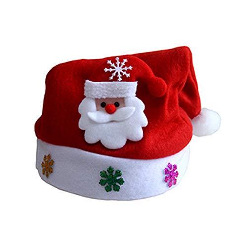 Nikolausmütze mit LED Weihnachtsfeier Rot Santa Mütze Nikolaus Dicker Fellrand aus Plüsch kuschelweicher Hut für Kinder Kostüm Weihnachtsparty Dekoration, Weihnachtsmann ()