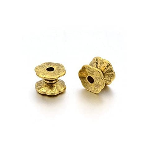 Packet of 30 x Antique Gold Tibetan 5 x 7mm Tube Spacer Beads - (HA15030) - Charming Beads