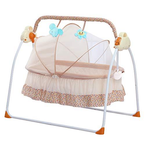 SANPLO Lit berceau électrique bébé lit automatique Bassinet Basket nouveau-né berceau berceau musique multifonction lit bébé (Jaune)