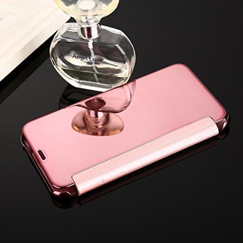 Wkae Galvanisierender Spiegel Horizontaler Schlag-Leder-Kasten für iPhone X ( Color : Silver ) Rose gold