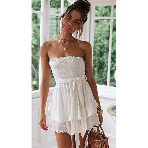XDDQ Sexy Womens Dress WeißEs äRmelloses Kleid Kurzer Rock Aus Baumwolle Und Leine Weiße Kleid Rock