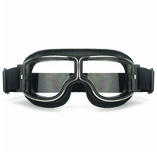 Heinmo Motocross Aviator Ski Motorrad Roller Brille Retro Helmbrille für Harley (weiße Linse schwarz Polsterung)