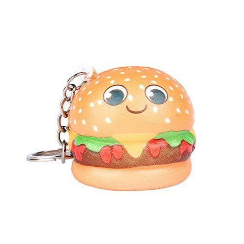 Aufsteigende Creme Stressabbau duftender Schlüsselanhänger Kawaii Cartoon Hamburger Langsam