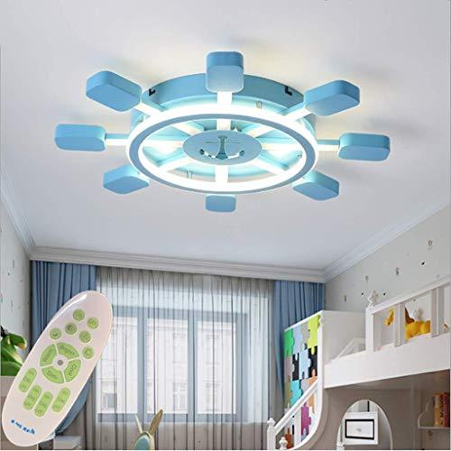 Kinderlampe Mediterran Pirat Ruder Deckenleuchte Kinderleuchte Kinderzimmerlampe Led Lampe Mit Fernbedienung Babyzimmer Modern Baby Deckenlampe Schlafzimmer Babylampe Leucht Deckenleuchten,Blau,50cm