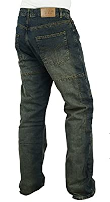 Rust Blue Motorbike Kevlar Lined Jeans Abrasion Resistant Armoured