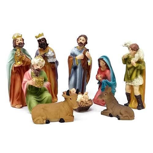 ToCi Krippenfiguren Set mit 9 Figuren (11 cm) für die traditionelle Weihnachts Krippe