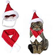 "Cute Santa Hat & Scarf Xmas Red Costume Suit Dress Up for Pet Dog Cats Fashion Accessory (S-Fit neck size within 11"")"