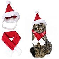 """Traje de disfraz de Navidad de Santa Hat & Scarf Xmas rojo Viste para Pet Fashion Cats Accesorio de moda (S-Fit de cuello de 11 """")"""