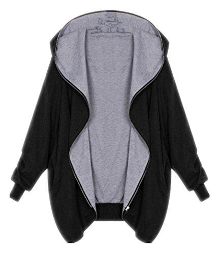 EVERY Femme Manteau Veste casual femme manteau blouson veste Automne Hiver Grande Taille à Capuche Manches longues Chaud Zipper Cardigan Blouson Noir