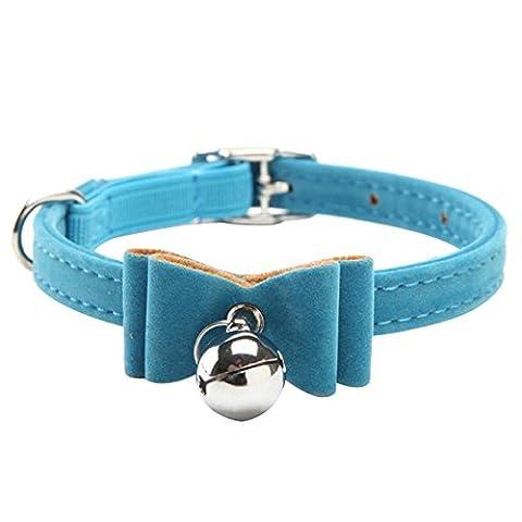 FANGXIN Beflockung Katzen Halsbänder Bowknot mit Glöckchen 1x 27cm Lila Blau Rot Schwarz Pink für Haustier Halsumfang 20–30 cm Einstellbar (Blau)