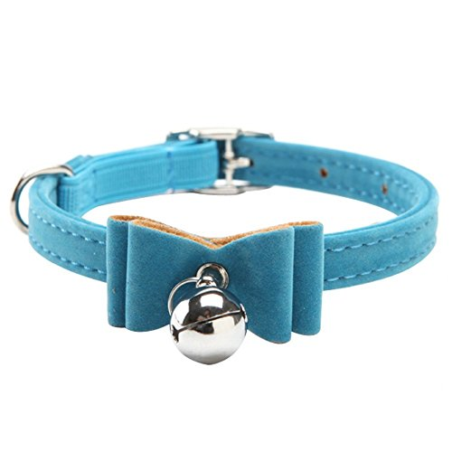 BbearT Cat Collar,Small Dog Collar with bell Kitten Velvet Bow Tie Safety Elastic Bowtie Bell for Cat Small Dog Puppy Girls (Blue)