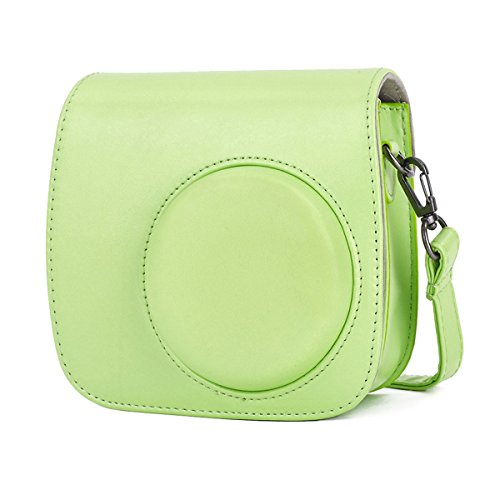 Leebotree Tasche für Fujifilm Instax Mini 8 8+/Mini 9 Sofortbildkamera aus Weichem Kunstleder mit Schulterriemen und Tasche (Lime Grün)