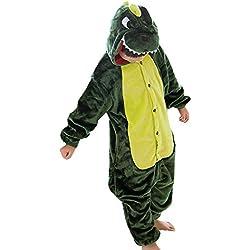 LPATTERN Cosplay Disfraz Pijamas Animales Carnaval Fiestas Partidos Franela Niños Unisex Niñas Dinosaurio Verde XL