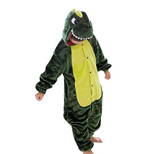 LPATTERN-Kinder Mädchen/Jungen Cosplay Pyjamas  Tier Kostüm Jumpsuit Einteiler, Grüne Dinosaurier, 140/146( Herstellergröße: XXL/140)