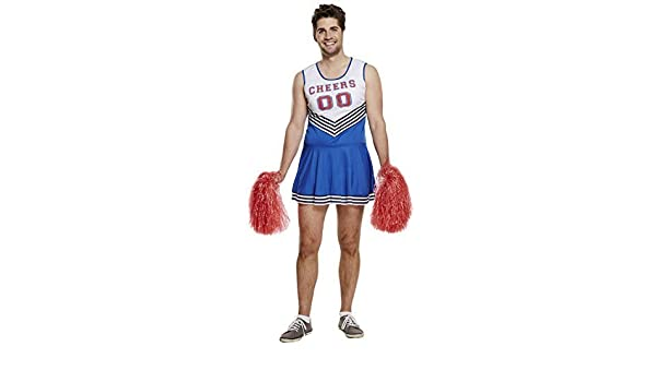 Adult HOT CHEER LEADER Mens Fancy Dress Costume Male Stag POMS POMS INCLUDED