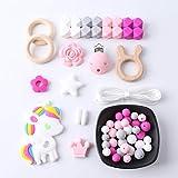 Mamimami Home Baby Teether Armband Silikon Halskette Schnuller-Clips DIY Krankenschwester Charms Holzkaninchen Kautabletten Holzring Zahnen Spielzeug