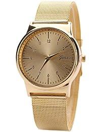 Vovotrade moda popular mujer chica clásico oro cuarzo acero inoxidable reloj de pulsera (dorado)