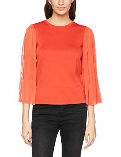 ONLY Damen Bluse Onlvictoria 3/4 Mesh Sleeve Top Jrs, Rot (Aurora Red), 36 (Herstellergröße: S) (Red Top 3/4 Sleeve)