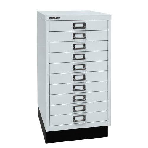 BISLEY MultiDrawer, 29er Serie mit Sockel, DIN A3, 10 Schubladen, Metall, 645 Lichtgrau, 43.2 x 34.9 x 67 cm