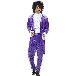 Smiffys Pourpre Costume de Musicien d'anneés 80, pourpre, avec veste, fausse chemise et L