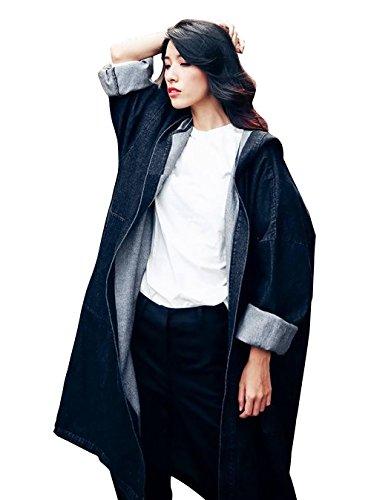 LAI MENG New Frauen Damen Oversize Mode Cowboy Denim Jeans Lose Windbreaker-Jacken-Mantel Outwear Cap Kapuzen Cloak Onesize EU 38-46