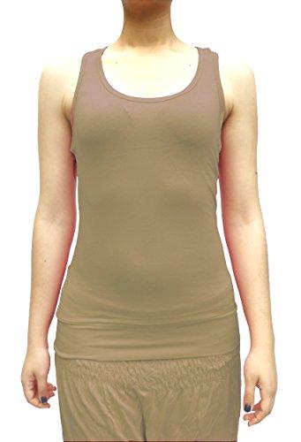 Damen Tank Top Trägershirt Ringer Rücken Racerback T-Shirt Größe 34/36/38 Farbe Hell-Braun