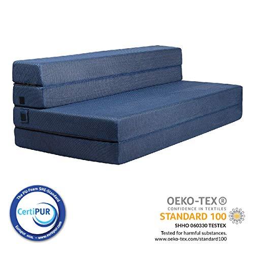 milliard 11,5cm materasso in schiuma ripiegabile in tre e divano letto/poltrona letto per ospiti oppure tappetino - doppio(190cm x 135cm)
