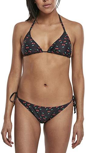 Urban Classics Damen Ladies Pattern Bikini-Set, Schwarz (Cherry/blk 02063), 38 (Herstellergröße:M)