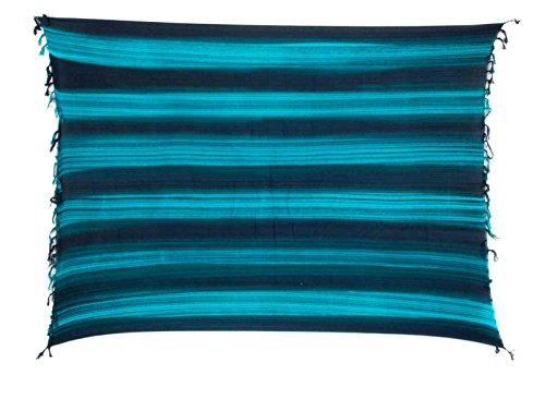 Sarong Pareo Strandtuch Wickelrock Blickdicht Streifen Türkis Blau Wickeltuch