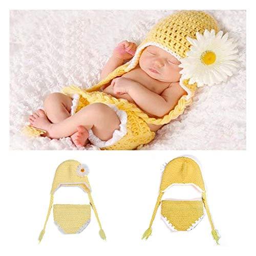 Hut Und Kostüm Weißen Schwanz - NROCF Gelbe Gänseblümchen-Baby-Foto-Fotografie-Props-Kleidung, Doppelter Langer Schwanz-Hut, Gelb Und Weiß, Hirtenwind-Satz