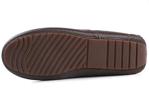 OZZEG Cuir mocassins en peau de mouton Slip masculine On Boat Deck Shoes Chaussures d'hiver Café