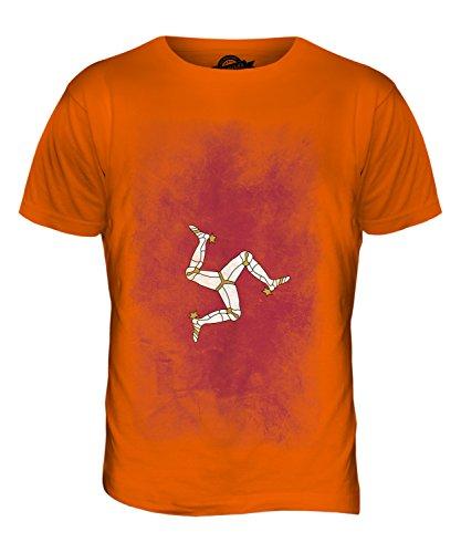 CandyMix Isle Of Man Verblichen Flagge Herren T Shirt Orange