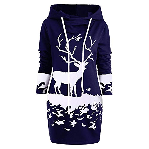 VEMOW Weihnachten Mini Pullover Kleid Damen Frauen Casual Daily Party Freizeit Kordelzug Monochrom Rentier Gedruckt Kapuzenkleid(X1-Marine, EU-44/CN-2XL)