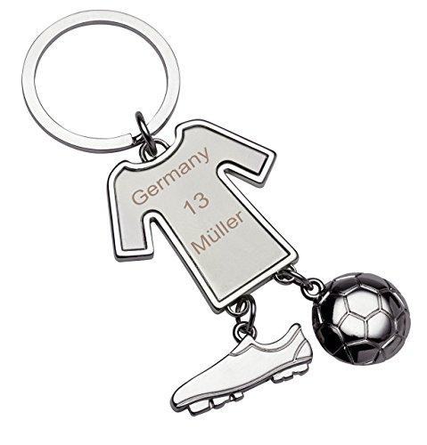 Schlüsselanhänger Trikot Gravur mit Fußballschuh und Fußball, Glücksbringer Fussball, Schlüsselanhänger Fussballer mit Wunschverein, Name, Nummer