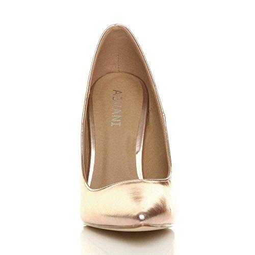de haut travail Femmes chaussures Or pointue élégante talon rose taille fête escarpins qTwxnZ1Xw
