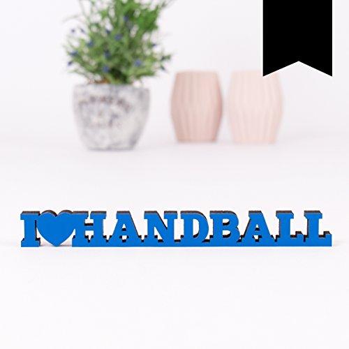 KLEINLAUT 3D-Schriftzug I Love Handball in Größe: 25 x 2,8 cm - Dekobuchstaben - 32 Farben zur Wahl - Schwarz