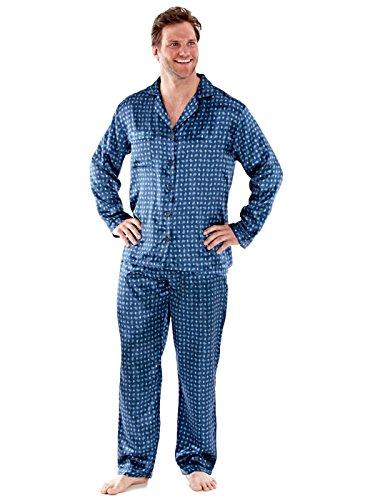 Herren PAISLEY Satin Morgenmantel Roben und Satin Pyjama-Sets M - XXL Blau Pyjama