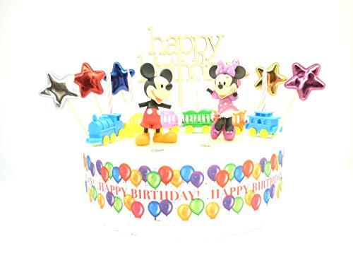 Set de decoración para tarta de cumpleaños.Mickey y Minnie Mouse. Set completo.2 figuras, vela tren, signo de Happy Birthday (en inglés), estrellas y cinta decorativa. Da a tus pasteles algo de estilo con esta decoración para tarta. Las figuras están...