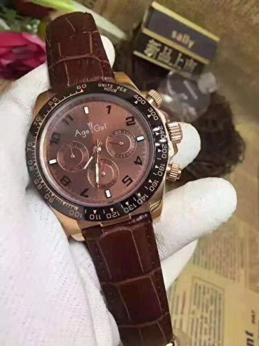 XRLSONE Mens Rose Gold Chocolate Keramik Lünette Brown Leather Gent Automatische Mechanische Saphir Uhren 1