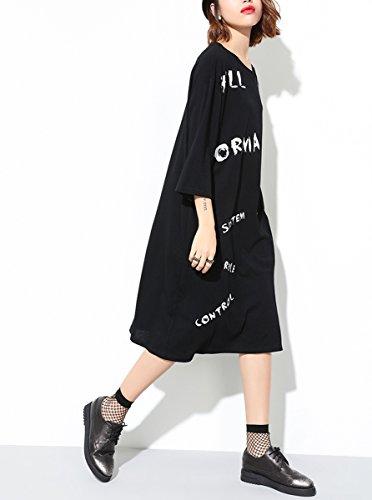 ELLAZHU Femme Été Ample Zip Lettres Impression Chemise Robe GY1192 A Black