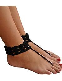 Antemi - Femmes - Décoration de cheville et entredoigt en crochet - Noir